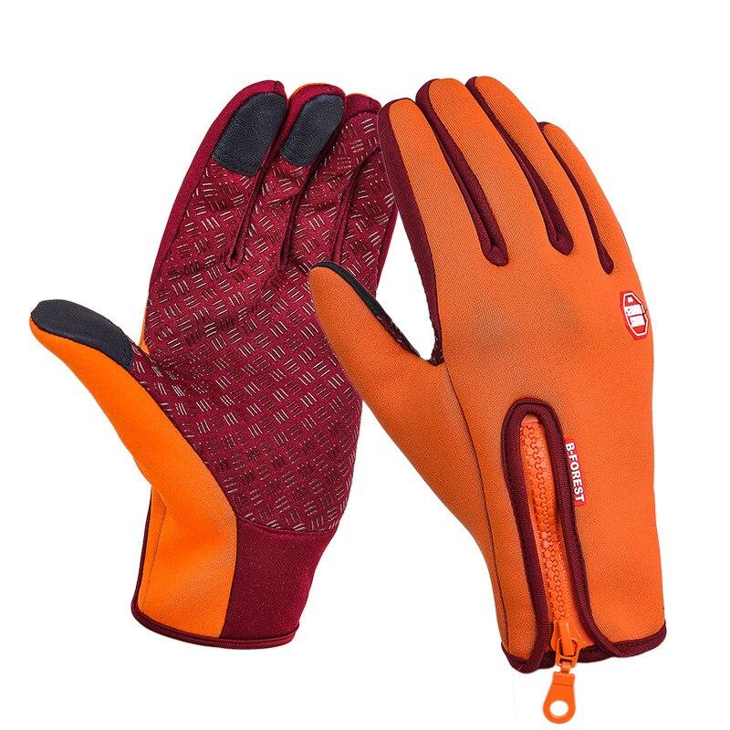 Унисекс тачскрин зима Тепловая Теплая велосипедная Лыжная уличная походная мотоциклетная перчатки спортивный с полными пальцами - Цвет: Orange