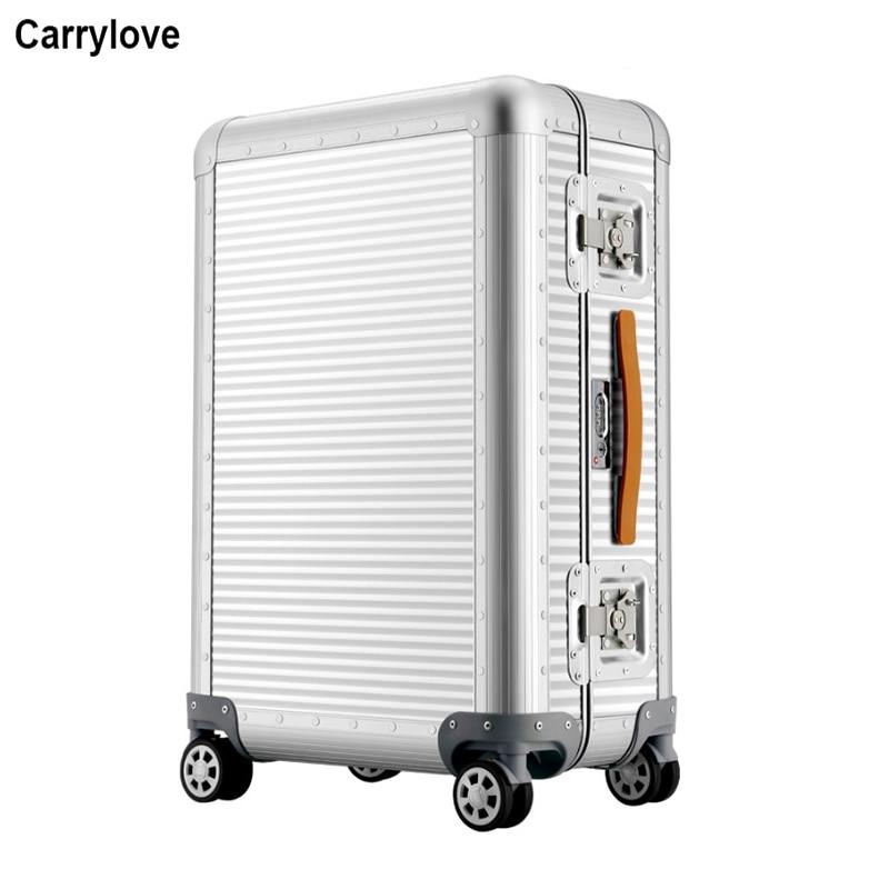 """CARRYLOVE 20 """"26"""" pollici 100% di alluminio trolley spinner bagaglio di Viaggio valigia su ruote-in Valigia a rotelle da Valigie e borse su  Gruppo 1"""
