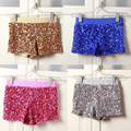 Women Elastic High Waist Sequins Booty Shorts Silver Black Gold Red DS hip hop jazz Sparke Shorts Outfit
