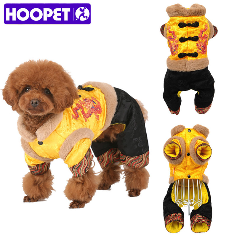 HOOPET Pet Dog Cat Chinese Traditional Dragon Four Feet Tang Suit Costume Warm Thick Autumn Winter Jumpsuit Clothes Jacket