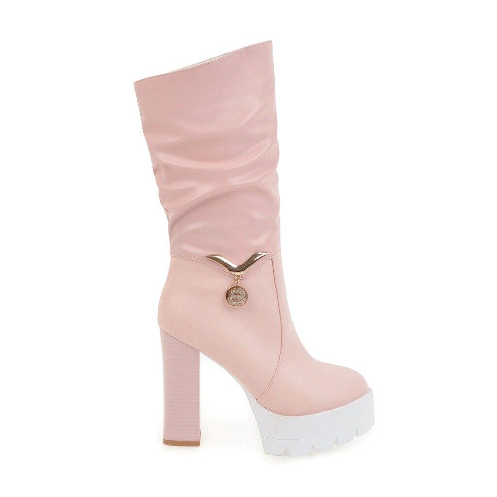 Femmes noir Dames Beige rose Bottes Haute Talons Un Pour Dîner Décontracté Partie De Cm Nouveau blanc 11 Chaussures Adapté Neige hdtsCQr