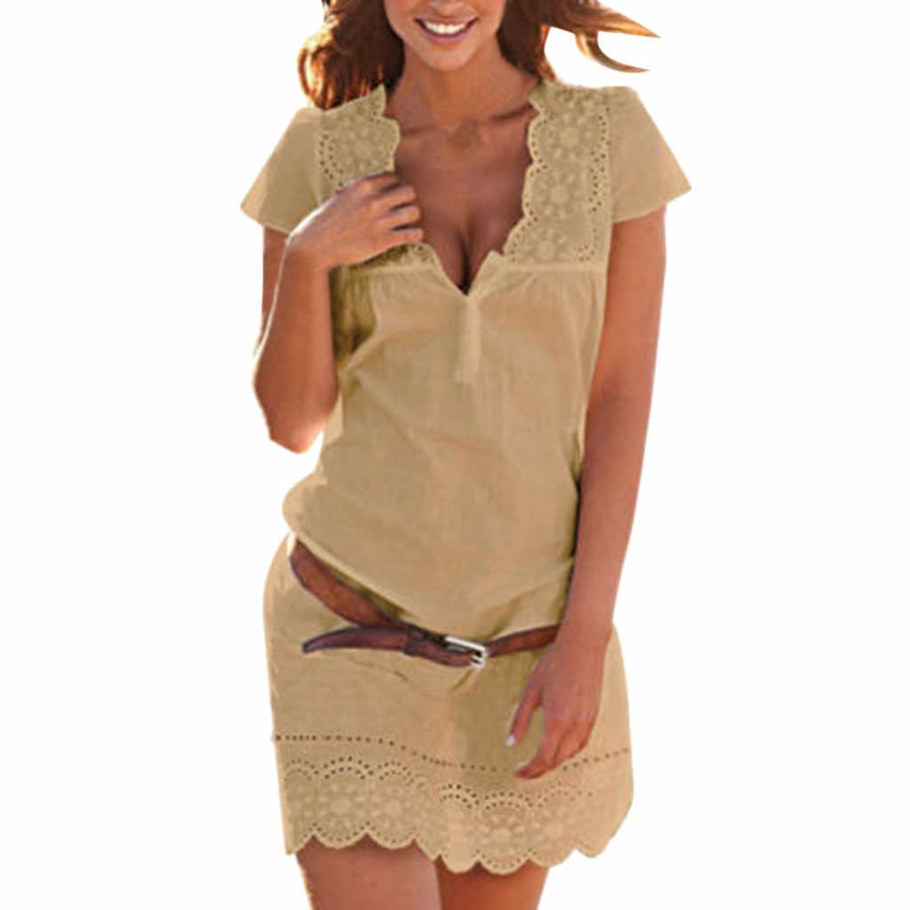 Летнее женское сексуальное кружевное платье с v-образным вырезом, с коротким рукавом, Boho, Пляжное мини-платье, пляжный тонкий сарафан, vestidos de verano, Прямая поставка