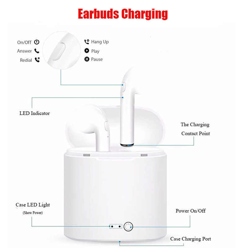 I7 i7s TWS słuchawka bezprzewodowa Bluetooth słuchawki douszne zestaw słuchawkowy z mikrofonem dla iPhone samsung xiaomi huawei lenovo htc LG TCL ect