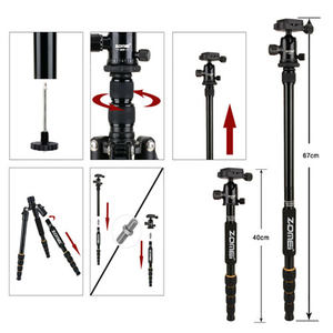 Image 4 - Zomei tripe portátil q666 profissional leve, leve, tripé, de alumínio, monopé, para câmeras digitais dslr