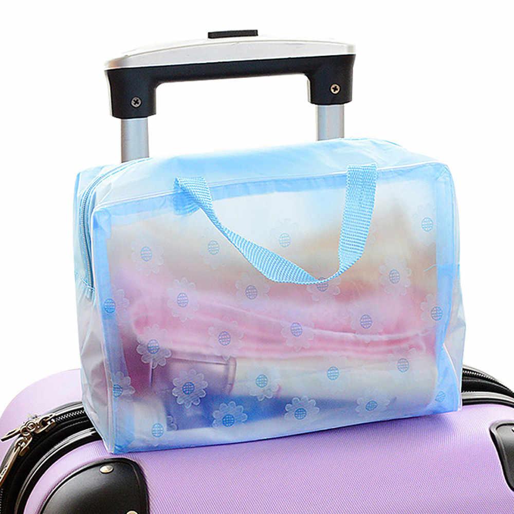 2 قطع المحمولة ماكياج التجميل أدوات الزينة سفر غسل فرشاة الأسنان الحقيبة PVC المنظم حقيبة السفر البقالة الحقائب الحمام المنظمون