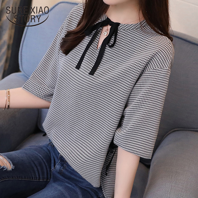 2019 fashion sweet plaid women   blouse     shirt   summer half sleeve v neck slim thin ladies tops casual women clothing blusas 0286 40