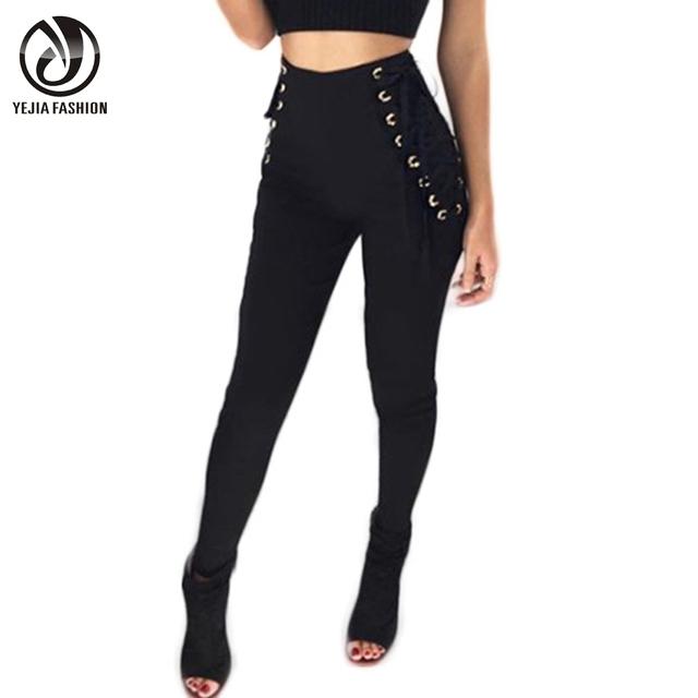 YJSFG CASA Casual Cintura Alta Mujeres Pantalones Lápiz Primavera Otoño Sexy Negro Femenino Delgado Leggings de Encaje Pantalones Pantalon Femme