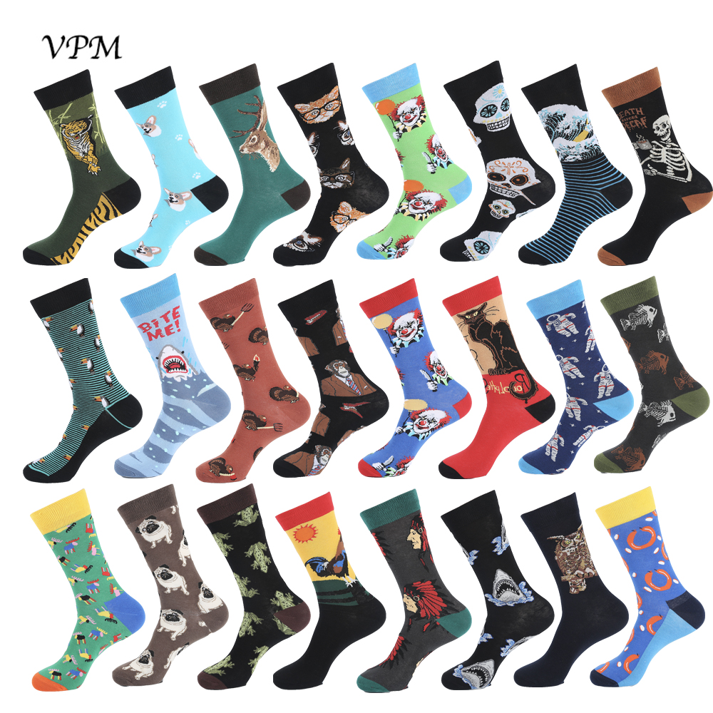 VPM New 2019 Colorful Cotton Men's Long Socks Harajuku Hip Hop Funny Skull Cool Dress Socks For Male Wedding Christmas Gift