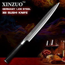 XINZUO 12 inch sashimi knife scabbard German steel kitchen knife one-sided cleaver knife chef knife ebony handle free shiping