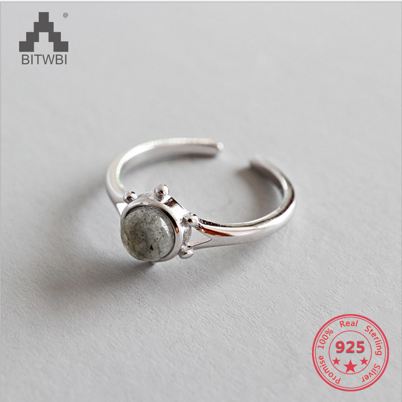 S925 Sterling Silver Personality Minimalist Geometry Inlay Natural Moonstone Open Ring