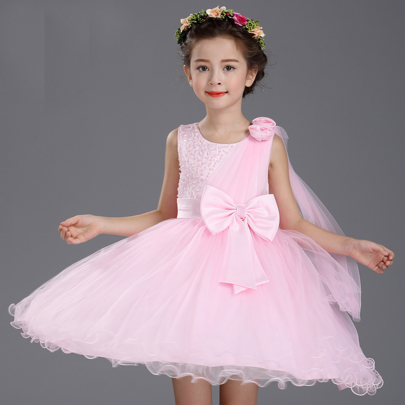 4-12T Girls clothes Evening Gown Lace tutu Dress Wedding Party Children clothing Bowknot Floral Big Kids Formal Princess Dresses summer kids girls tutu one piece sleeveless big bowknot party floral dress