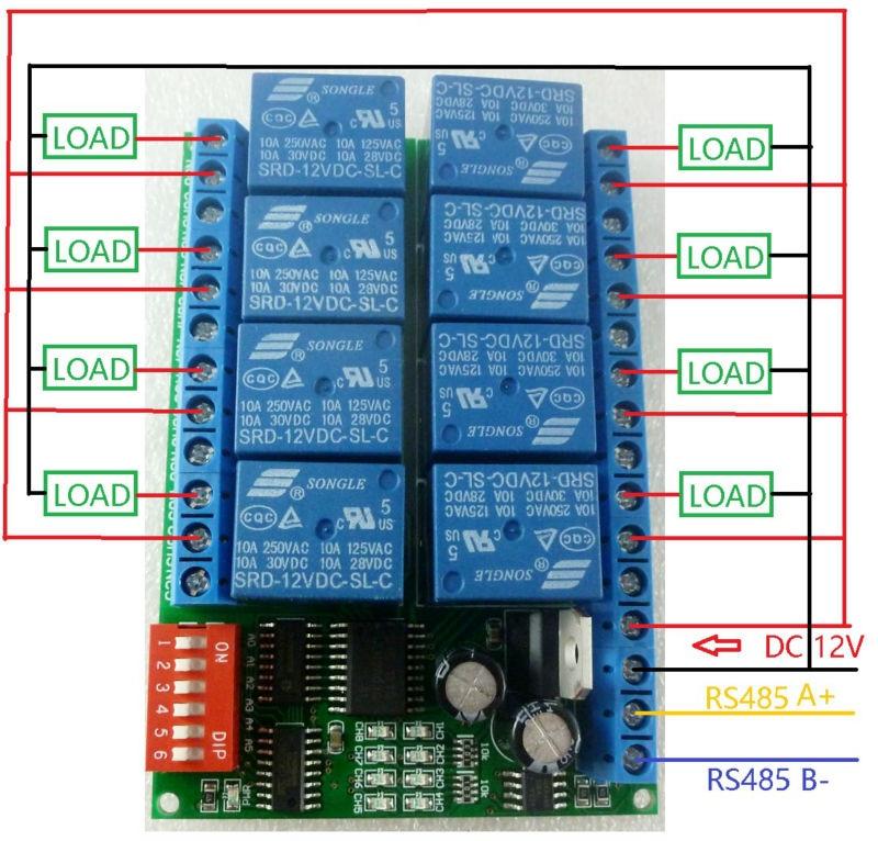 8CH Modbus RTU RS485 Módulo de Relé Junta Interruptor para PLC ...