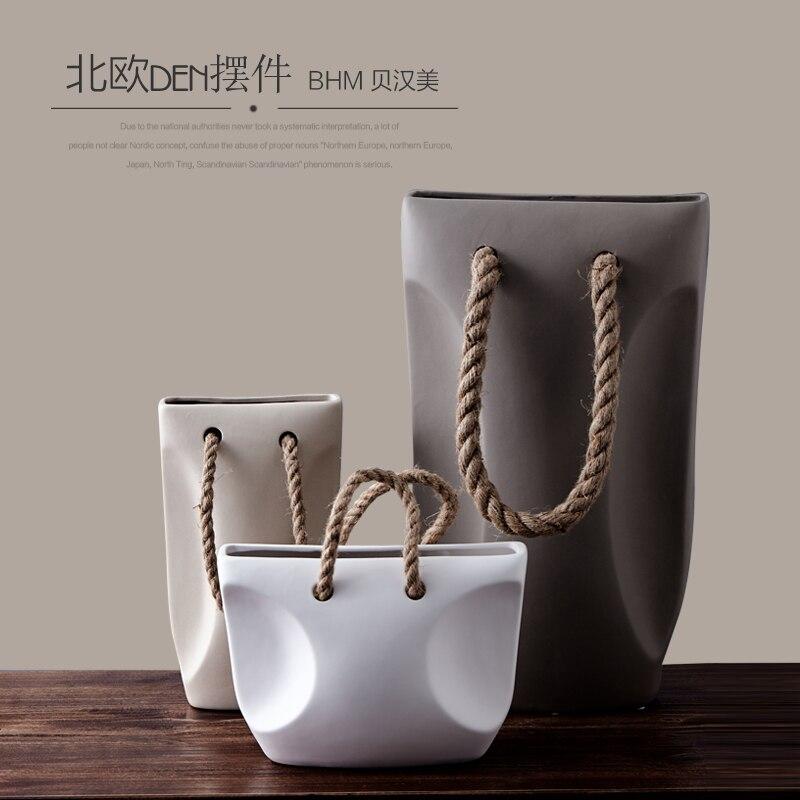 Ceramic Creative Concise Abstract Flower Vase Pot Home Decor Craft Room Decoration Handicraft Porcelain Figurine Handbag Vase