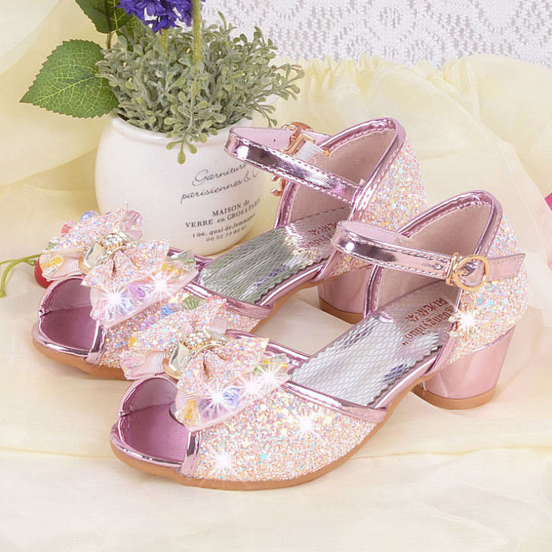 Glitter Girls Sandals 2017 Summer 4~10Yrs Bowtie Kids Wedding Shoes Rhinestone Children Dress Shoes Party Shoe For Girls Sandal