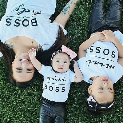 Family Matching Clothes Dad Mother Kids T-Shirt Baby Romper Bodysuit Parents Children Clothing Family Match Boss Print Top Shirt