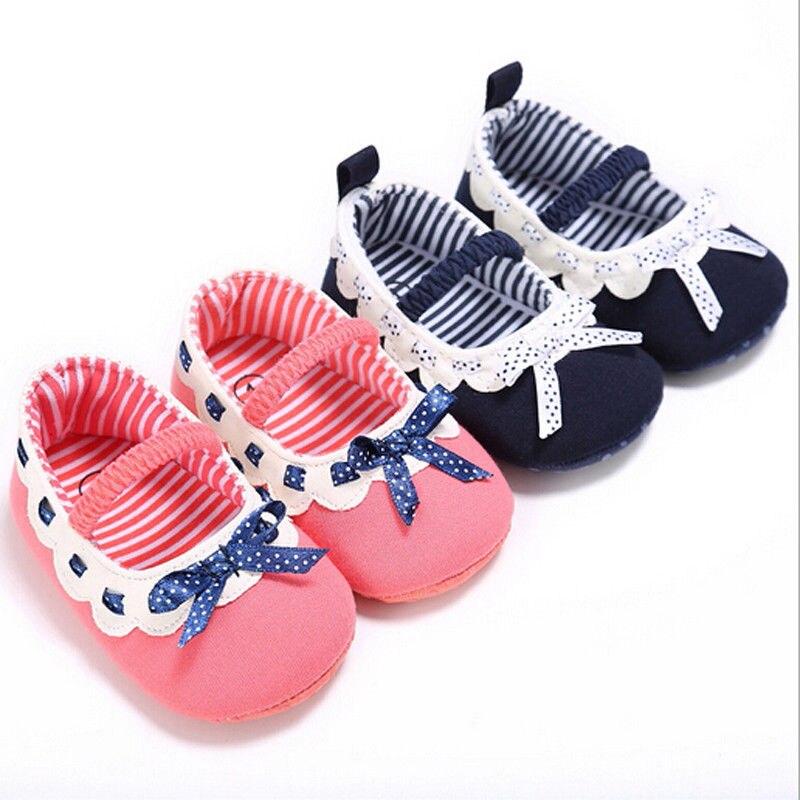 0-18 Mt Mode Lässig Nette Reizende Sommer Neugeborenes Mädchen Weiche Sohle Baumwolle Krippe Schuhe Bogen Patchwork Schuhe 2 Stil