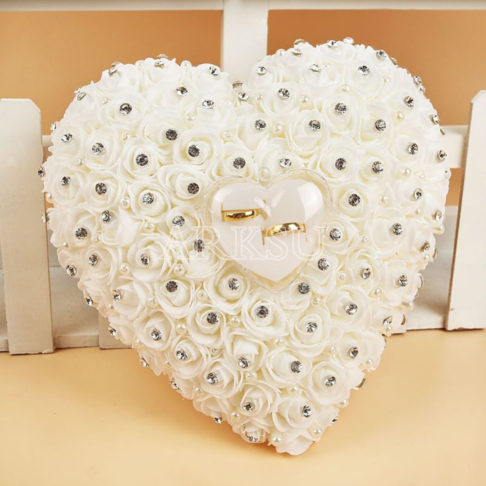 Hang Ring Pillow With Transprent Box Heart Design With Rhinestone And Pearl  Decor Wedding Ring Cushion Decoration