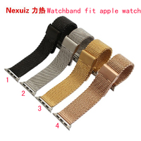 38mm 42mm New Black Fashion Milanese Loop Stainless Steel Mesh Replacement WatchBand With Adopter For Apple