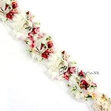 1 Yard 2.5 Floral Chiffon Frayed Shabby Rose Flowers Rosette Lace Trim Baby Headbands Hair Band Bridal Wedding Dress DIY Sewing цена
