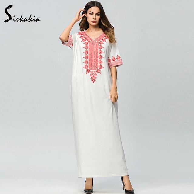 d19a8c7dc6db Siskakia Urban casual maxi dress summer 2018 ethnic embroidery T shirt long  dress Elegant women white