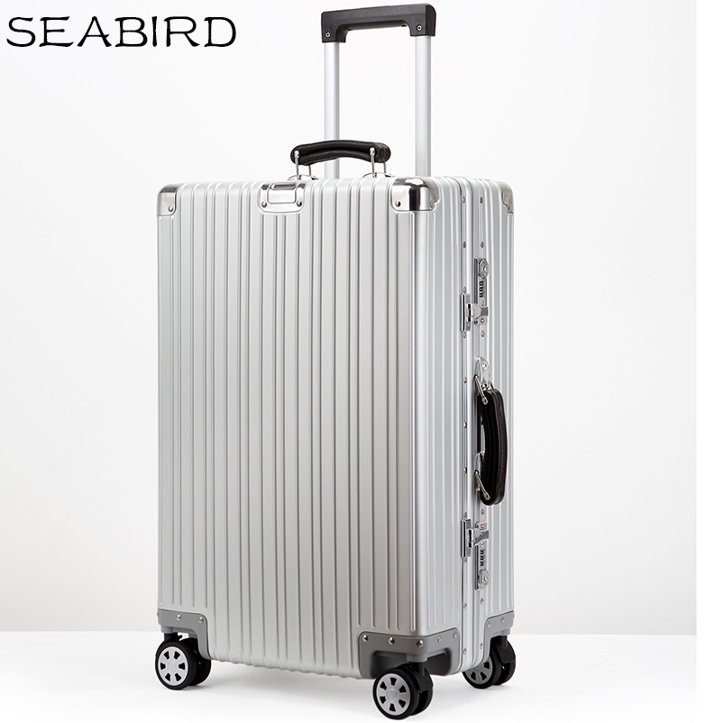 SEABIRD All Aluminum Travel Suitcase With Wheels TSA Lock Trolley Case Scratch Resistant Rolling Luggage Koffer цена