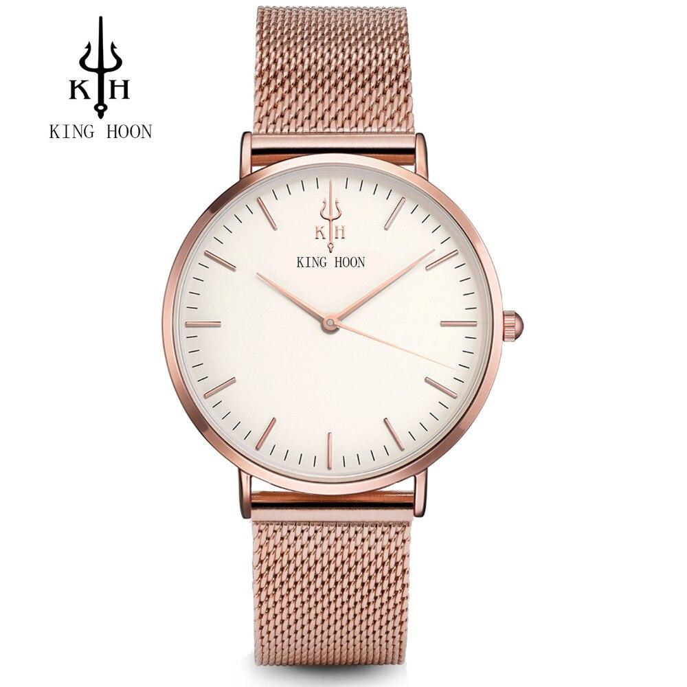 Frauen uhren top-marke luxus KÖNIG HOON Ultradünne Gold Stahl Netz Uhren Frauen Kleid Quarz Geliebte Uhr orologio uomo