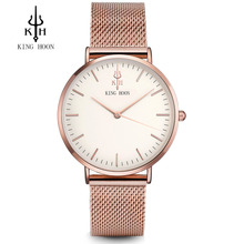 Для женщин Часы лучший бренд класса люкс King Хун ультра тонкий золотой Сталь сетки Часы женское платье любителей кварцевые часы Orologio Uomo
