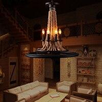 Американский деревня 6 головок колеса деревянные бусины подвесной светильник Лофт пеньковая веревка светильник из кованого железа лампа к
