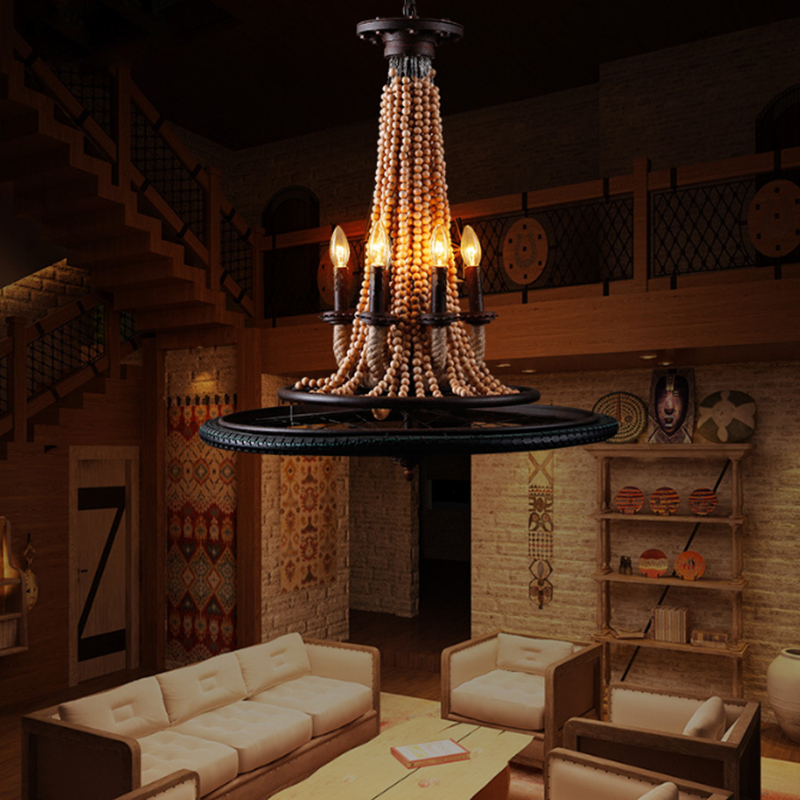 American Countryside 6heads Wheel Wooden Beads  Pendant Lamp Loft Hemp Rope Light Wrought Iron Lamp Cafe Bar Decoration Light