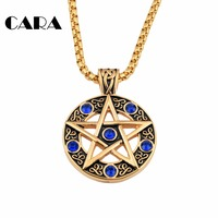 New Arrival men's hip hop punk style 316L stainless steel antique gold-color Blue rhinestone star pendant necklace,CAGF0013