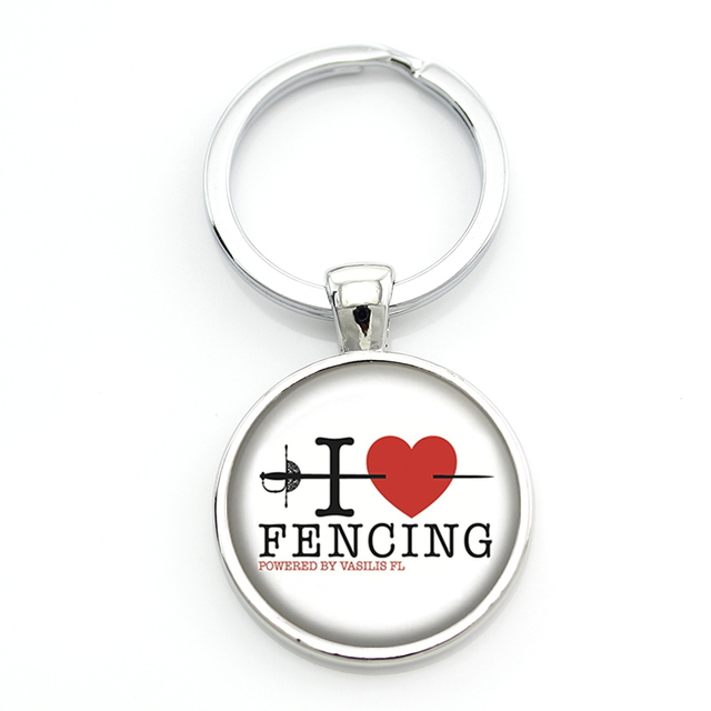 JWEIJIAO New vintage Keep Calm and Love Fencing key chain ring holder fashion fencers jewelry mens casual sports keychain SP98