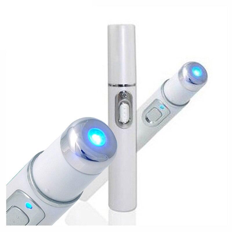 Drop Ship Blue Light terapia acné lápiz láser suave tratamiento de cicatrices eliminación de arrugas dispositivo de belleza masajeador Facial cuidado de la piel