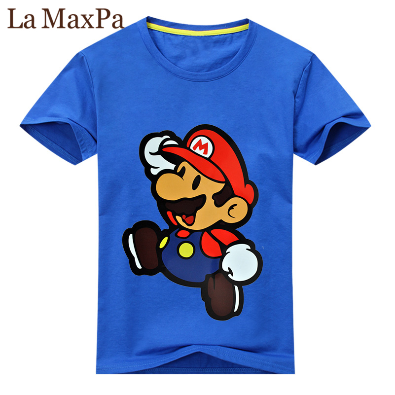 2018 Children New 3D Cartoon Mario Print Short Sleeve T-shirt For Boy Girl 100%Cotton Tshirt Clothes Kid Tee Tops Costume