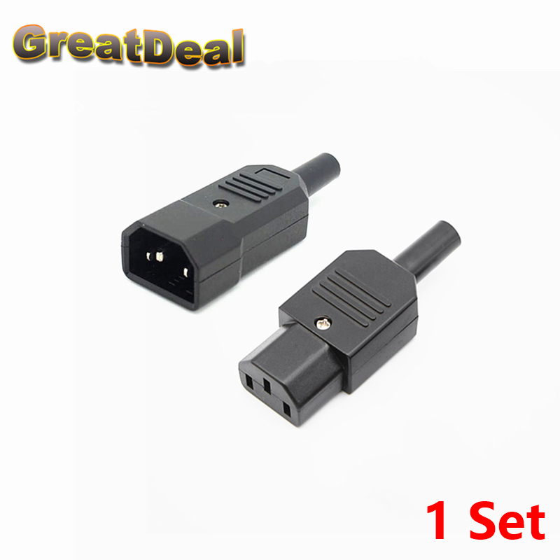 1Set IEC C14 Male + Female Plug Rewirable Power Connector 3Pin IEC-C14 Socket Computer Cable Power Adapter 10A 250V HY1098 5 sets 3 pin powercon light power plug socket speakon connector male female nac3fca nac3mpa 1 chassis panel mount power adapter