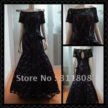 Off Shoulder Short Sleeve Charming Lace Real Photo Modest Mermaid Prom Dresses Evening Gown-OYB073