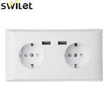 SWILET EU Standard Wall Power Socket Charger 5V 2.4A Dual 2 USB Ports White Outlet