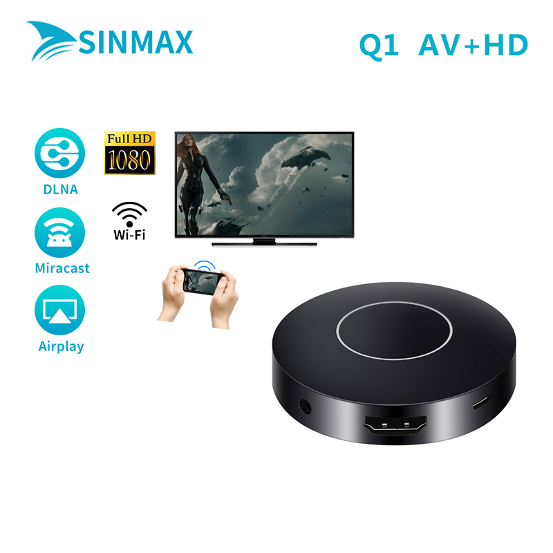 AV+HD Q1 WIFI Miracast Adapter Dongle display Android mini pc TV stick airplay dlna 1080p hdmi chrome cast VS Mirascreen dvb-t2