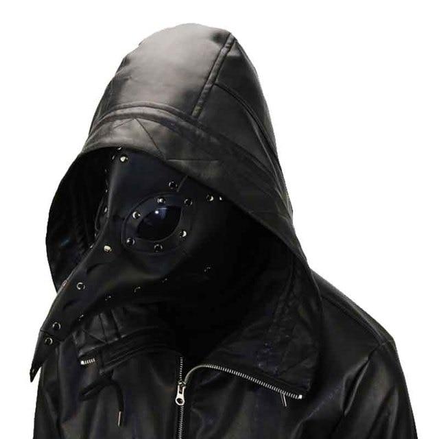 US $41 54 48% OFF|Punk Women and Men Gothic Black PU Leather Steampunk Gas  Mask Halloween Masquerade Cosplay Plague Bird Beak Rivet Mask-in Boys