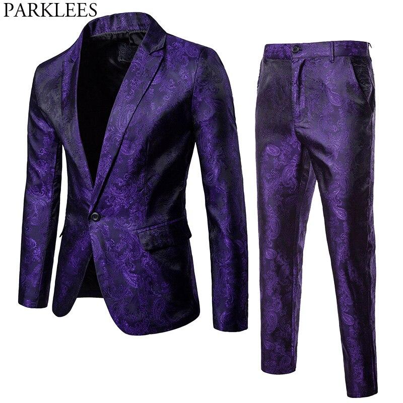 Purple Paisley Floral Gilding One Button Suit ( Jacket+Pants) Men 2018 Stage Party Weeding Tuxedo Blazer Men Terno Masculino 2XL lakers шорты