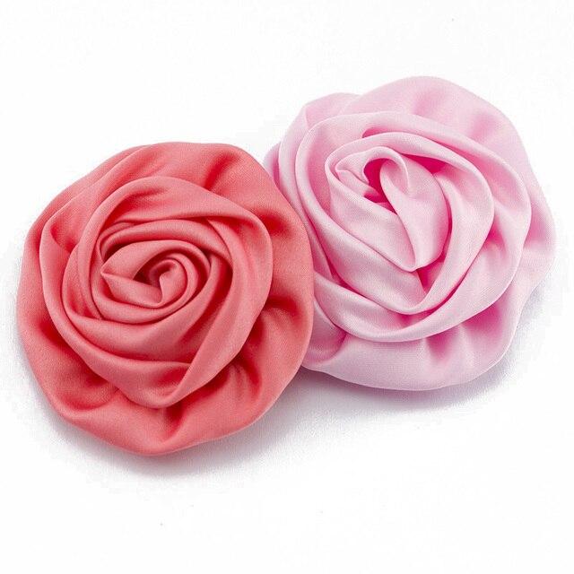 "30pcs/lot 3"" Soft Matte Satin Silk Flowers For Kids Hair Accessories Artificial Rolled Rosette Fabric Flowers For Headbands"