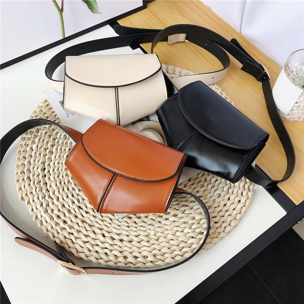 Women Serpentine Fanny Pack Pu Leather Waist Fanny Belt Packs Female Small Wild Chest Shoulder Solid Color Bags