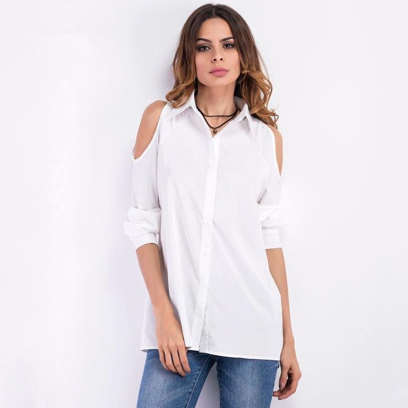 2017 Mujeres del Resorte Sexy Hombro Blusa Turn Down Collar Casual Tops Blanco N