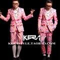 S-4XL! 2016 Nuevos hombres Bigbang DJ rosa patrón de la muñeca de traje de chaqueta de Traje Traje más tamaño trajes del cantante ropa vestido formal