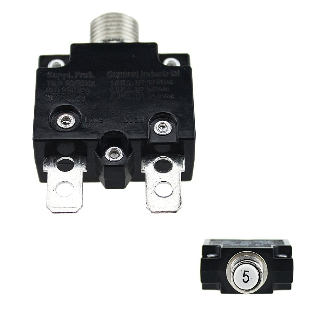 5A/10A/15A/20A/30A Circuit Breaker Waterproof Push Button Resettable Thermal Fuse Circuit Breaker Panel Mount