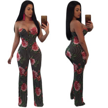 New summer hot fashion personality nightclub party sexy strapless wide leg print womens jumpsuit