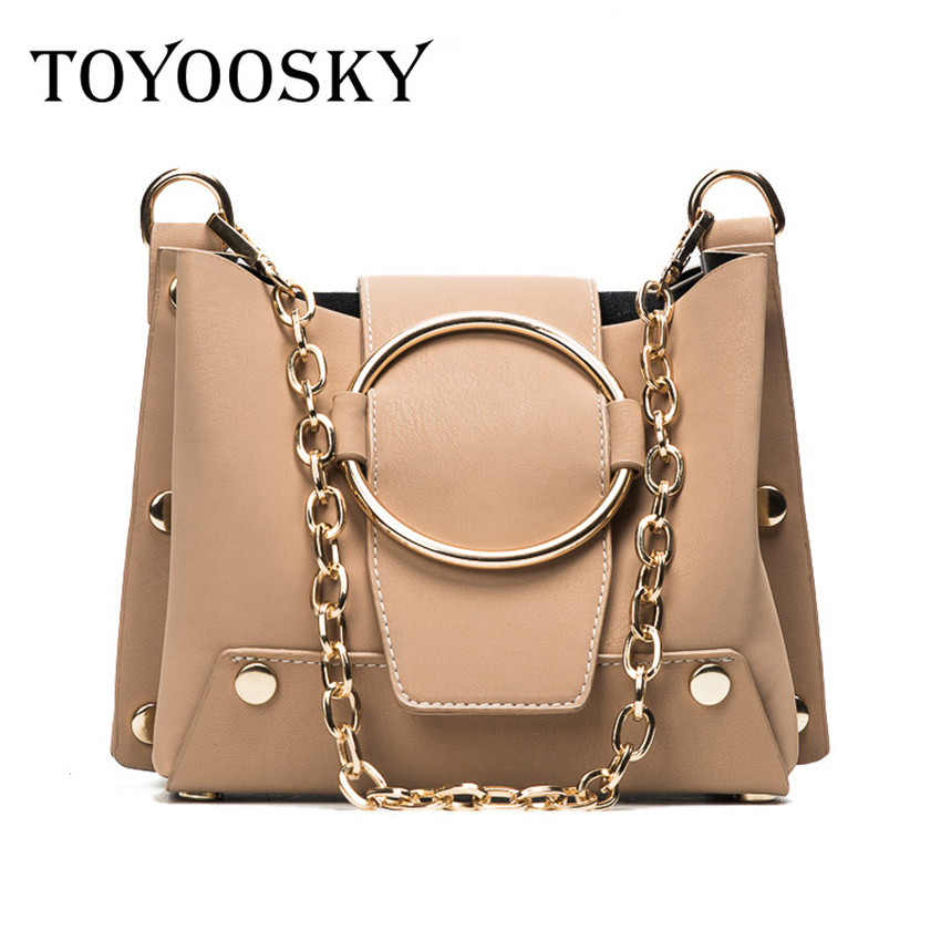 TOYOOSKY brand Summer new fashion women Chains crossbody bags female shoulder bag metal ring handbag ladies mini messenger bags crossbody bag handbag 2018 new brand designer messenger bags genuine leather women s female fashion woman chains bag shoulder