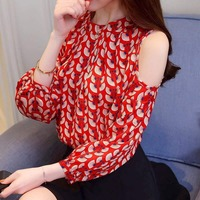 Spring Autumn Long Sleeve Blouse Sexy Off Shoulder Top Women Sweet Print Shirt Blouses