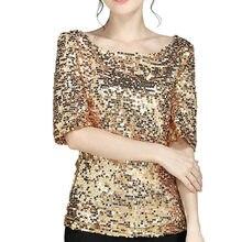 59aee774 Sequin T-Shirt Fashion Women Ladies Plus Size XXXXXL Sequins Sparkle  Coctail Party Casual Tops