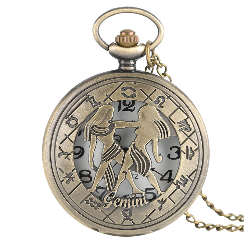 Gemini Quartz Pocket Watch Half Hunter Gift  Children Fashion Necklace Twelve Constellations Bronze Men Women Watch