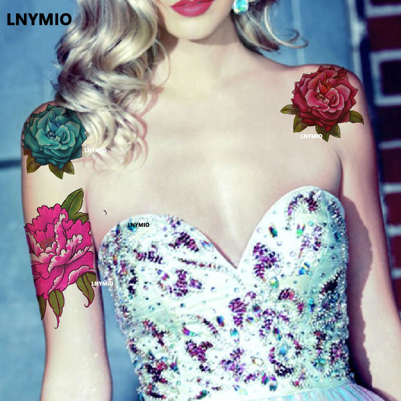 17 Lnymio temporary tattoo pretty flower large size pink and blue body art tattoo sticker 7
